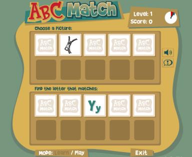 Игра «ABC Match» подбери картинке букву