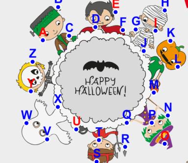 Игра «Хэллоуин» запомни последовательность букв английского алфавита